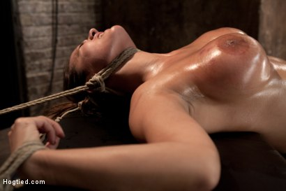 Photo number 9 from Sexy tan oiled blond, is slowly dragged into the darkness by a neck rope<br>Made to cum over & over. shot for Hogtied on Kink.com. Featuring Trina Michaels in hardcore BDSM & Fetish porn.
