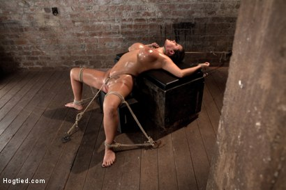 Photo number 14 from Sexy tan oiled blond, is slowly dragged into the darkness by a neck rope<br>Made to cum over & over. shot for Hogtied on Kink.com. Featuring Trina Michaels in hardcore BDSM & Fetish porn.
