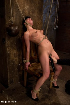 Photo number 2 from Brutal nipple pulling, slow strangulation, extreme back arching<br>Made to cum so hard, so often. shot for Hogtied on Kink.com. Featuring Elise Graves in hardcore BDSM & Fetish porn.