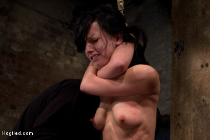 Photo number 15 from Choke out tie<br>Zippered, caned, tortured w/brutal orgasms, pulled to toes & crotch roped! INTENSE! shot for Hogtied on Kink.com. Featuring Elise Graves in hardcore BDSM & Fetish porn.