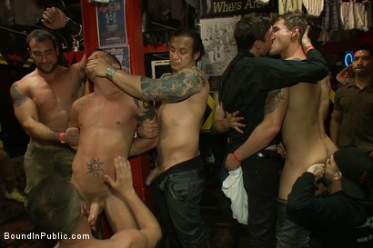 Photo number 6 from Horny men attack a go-go boy at the Powerhouse bar  shot for Bound in Public on Kink.com. Featuring Spencer Reed and Shane Frost in hardcore BDSM & Fetish porn.