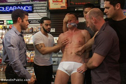 Photo number 2 from Innocent man is taken into a porn shop and turned into a sex slave. shot for Bound in Public on Kink.com. Featuring Tristan Jaxx, Kyle Braun and Royce in hardcore BDSM & Fetish porn.