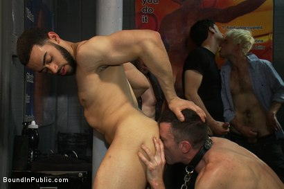 Photo number 8 from Innocent man is taken into a porn shop and turned into a sex slave. shot for Bound in Public on Kink.com. Featuring Tristan Jaxx, Kyle Braun and Royce in hardcore BDSM & Fetish porn.