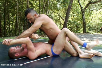 Photo number 2 from Alessio Romero vs Drake Temple at Naughty Pines Campgrounds shot for Naked Kombat on Kink.com. Featuring Alessio Romero and Drake Temple in hardcore BDSM & Fetish porn.