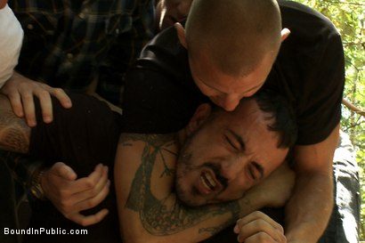 Photo number 3 from Horny men jump on a beefy jock and turn him into a sex slave at a campground. shot for Bound in Public on Kink.com. Featuring Alessio Romero and Brenn Wyson in hardcore BDSM & Fetish porn.
