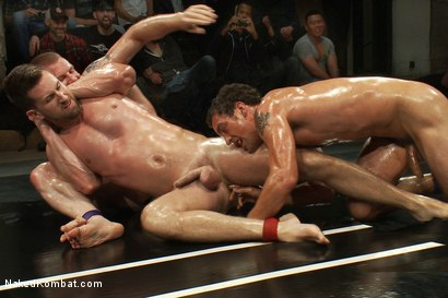 Photo number 10 from Cameron Adams and Phenix Saint vs Blake Daniels and DJ <br> Live Audience Tag Team Match shot for Naked Kombat on Kink.com. Featuring DJ, Cameron Adams, Phenix Saint, Troy Daniels and Blake Daniels in hardcore BDSM & Fetish porn.