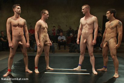 Photo number 15 from Cameron Adams and Phenix Saint vs Blake Daniels and DJ <br> Live Audience Tag Team Match shot for Naked Kombat on Kink.com. Featuring DJ, Cameron Adams, Phenix Saint, Troy Daniels and Blake Daniels in hardcore BDSM & Fetish porn.