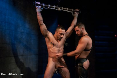 Photo number 1 from Damien Stone shot for Bound Gods on Kink.com. Featuring Alessio Romero and Damien Stone in hardcore BDSM & Fetish porn.