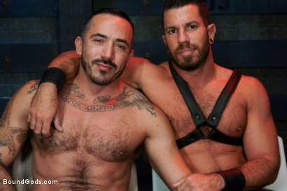 Photo number 15 from Damien Stone shot for Bound Gods on Kink.com. Featuring Alessio Romero and Damien Stone in hardcore BDSM & Fetish porn.