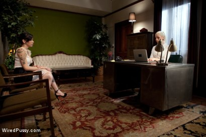 Photo number 2 from The Interview: Part 1 shot for Wired Pussy on Kink.com. Featuring Lorelei Lee and Krysta Kaos in hardcore BDSM & Fetish porn.
