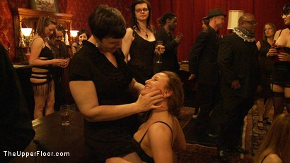 Photo number 11 from Kitty & Puppy Party shot for The Upper Floor on Kink.com. Featuring Sparky Sin Claire, Lilla Katt and Nerine Mechanique in hardcore BDSM & Fetish porn.
