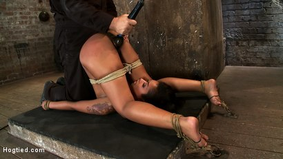 Photo number 10 from Skin's ass & pussy open, vulnerable<br>We plug her ass & make her squirt, cum all over her own face. shot for Hogtied on Kink.com. Featuring Skin Diamond in hardcore BDSM & Fetish porn.