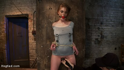 Photo number 6 from Redhead with cute freckles bound tightly & made to cum! Big puffy nipples clamped & weighted shot for Hogtied on Kink.com. Featuring Faye Reagen in hardcore BDSM & Fetish porn.