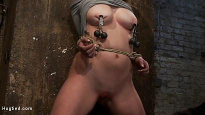 Photo number 9 from Redhead with cute freckles bound tightly & made to cum! Big puffy nipples clamped & weighted shot for Hogtied on Kink.com. Featuring Faye Reagen in hardcore BDSM & Fetish porn.