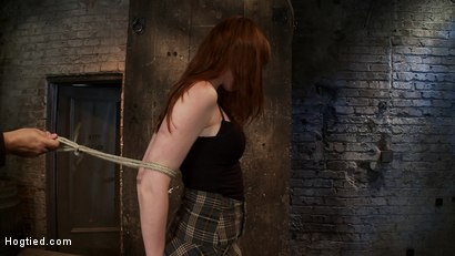 Photo number 2 from Sexy Irish girl is severely bound, made to suck cock and cum<br>Her puffy nipples clamped and abused shot for Hogtied on Kink.com. Featuring Marie McCray in hardcore BDSM & Fetish porn.