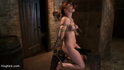 Photo number 12 from Sexy red head with HUGE lactating nipples severely bound in a reverse prayer<br>Made to cum!  shot for Hogtied on Kink.com. Featuring Marie McCray in hardcore BDSM & Fetish porn.