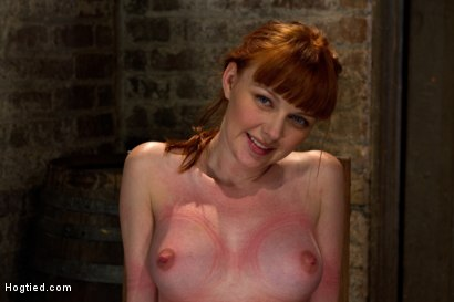 Photo number 4 from Sexy red head with HUGE lactating nipples severely bound in a reverse prayer<br>Made to cum!  shot for Hogtied on Kink.com. Featuring Marie McCray in hardcore BDSM & Fetish porn.