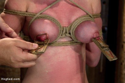 Photo number 1 from Sexy red head with HUGE lactating nipples severely bound in a reverse prayer<br>Made to cum!  shot for Hogtied on Kink.com. Featuring Marie McCray in hardcore BDSM & Fetish porn.