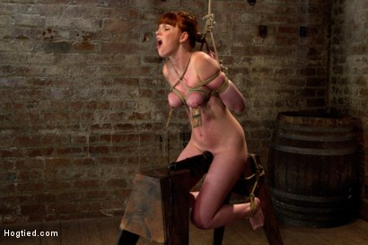 Photo number 2 from Sexy red head with HUGE lactating nipples severely bound in a reverse prayer<br>Made to cum!  shot for Hogtied on Kink.com. Featuring Marie McCray in hardcore BDSM & Fetish porn.