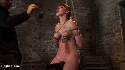 Photo number 11 from Sexy red head with HUGE lactating nipples severely bound in a reverse prayer<br>Made to cum!  shot for Hogtied on Kink.com. Featuring Marie McCray in hardcore BDSM & Fetish porn.