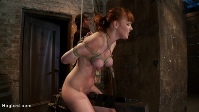 Photo number 13 from Sexy red head with HUGE lactating nipples severely bound in a reverse prayer<br>Made to cum!  shot for Hogtied on Kink.com. Featuring Marie McCray in hardcore BDSM & Fetish porn.