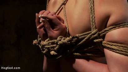 Photo number 5 from Sexy red head with HUGE lactating nipples severely bound in a reverse prayer<br>Made to cum!  shot for Hogtied on Kink.com. Featuring Marie McCray in hardcore BDSM & Fetish porn.