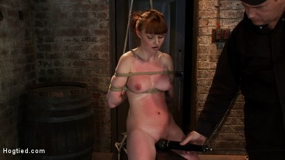 Photo number 7 from Sexy red head with HUGE lactating nipples severely bound in a reverse prayer<br>Made to cum!  shot for Hogtied on Kink.com. Featuring Marie McCray in hardcore BDSM & Fetish porn.