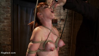 Photo number 9 from Sexy red head with HUGE lactating nipples severely bound in a reverse prayer<br>Made to cum!  shot for Hogtied on Kink.com. Featuring Marie McCray in hardcore BDSM & Fetish porn.