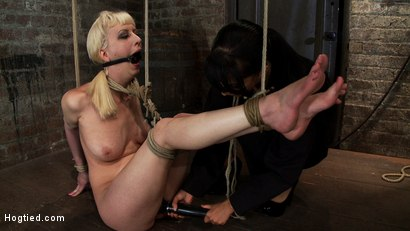 Photo number 9 from April's Live Show 1 of 4<br> Cherry suffers a Category 5 suspension!  All tying done live & on scree shot for Hogtied on Kink.com. Featuring Isis Love and Cherry Torn in hardcore BDSM & Fetish porn.
