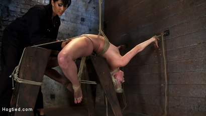 Photo number 12 from Extremely bent backwards, her neck tied so she can't move, her face brutally fucked while cumming! shot for Hogtied on Kink.com. Featuring Isis Love and Cherry Torn in hardcore BDSM & Fetish porn.