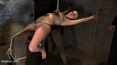 Photo number 4 from Extremely bent backwards, her neck tied so she can't move, her face brutally fucked while cumming! shot for Hogtied on Kink.com. Featuring Isis Love and Cherry Torn in hardcore BDSM & Fetish porn.