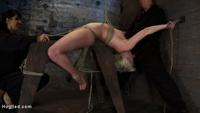 Photo number 7 from Extremely bent backwards, her neck tied so she can't move, her face brutally fucked while cumming! shot for Hogtied on Kink.com. Featuring Isis Love and Cherry Torn in hardcore BDSM & Fetish porn.