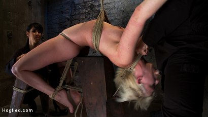 Photo number 9 from Extremely bent backwards, her neck tied so she can't move, her face brutally fucked while cumming! shot for Hogtied on Kink.com. Featuring Isis Love and Cherry Torn in hardcore BDSM & Fetish porn.