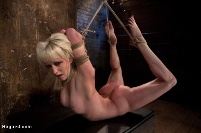 Blond tied into modified Category 4 Hogtied Sucks cock, punished to the limit of her flexibility!
