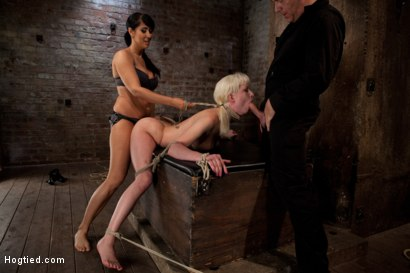 Photo number 1 from Cherry gets both ends brutally fucked<br>Cherry is made to cum over & over, helpless in her bondage! shot for Hogtied on Kink.com. Featuring Isis Love and Cherry Torn in hardcore BDSM & Fetish porn.