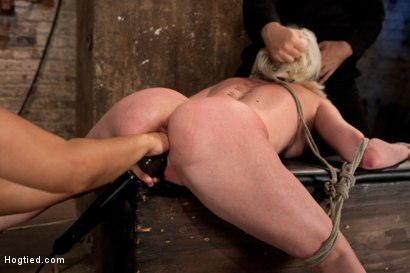Photo number 3 from Cherry gets both ends brutally fucked<br>Cherry is made to cum over & over, helpless in her bondage! shot for Hogtied on Kink.com. Featuring Isis Love and Cherry Torn in hardcore BDSM & Fetish porn.