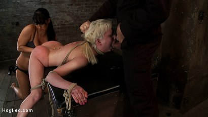 Photo number 12 from Cherry gets both ends brutally fucked<br>Cherry is made to cum over & over, helpless in her bondage! shot for Hogtied on Kink.com. Featuring Isis Love and Cherry Torn in hardcore BDSM & Fetish porn.