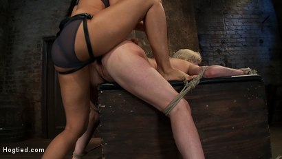Photo number 6 from Cherry gets both ends brutally fucked<br>Cherry is made to cum over & over, helpless in her bondage! shot for Hogtied on Kink.com. Featuring Isis Love and Cherry Torn in hardcore BDSM & Fetish porn.
