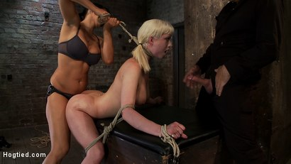 Photo number 7 from Cherry gets both ends brutally fucked<br>Cherry is made to cum over & over, helpless in her bondage! shot for Hogtied on Kink.com. Featuring Isis Love and Cherry Torn in hardcore BDSM & Fetish porn.