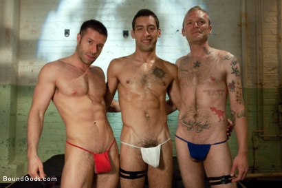 Photo number 15 from Red, White and Blue - July Live Shoot shot for Bound Gods on Kink.com. Featuring DJ, Riley Vlcek, Van Darkholme and Tristan Jaxx in hardcore BDSM & Fetish porn.