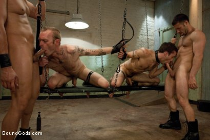 Photo number 13 from Red, White and Blue - July Live Shoot shot for Bound Gods on Kink.com. Featuring DJ, Riley Vlcek, Van Darkholme and Tristan Jaxx in hardcore BDSM & Fetish porn.