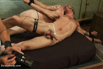 Photo number 3 from Red, White and Blue - July Live Shoot shot for Bound Gods on Kink.com. Featuring DJ, Riley Vlcek, Van Darkholme and Tristan Jaxx in hardcore BDSM & Fetish porn.