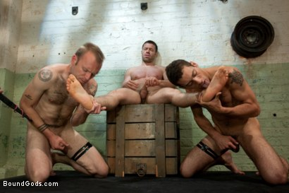 Photo number 8 from Red, White and Blue - July Live Shoot shot for Bound Gods on Kink.com. Featuring DJ, Riley Vlcek, Van Darkholme and Tristan Jaxx in hardcore BDSM & Fetish porn.