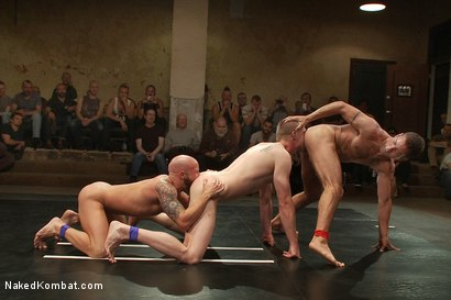 Photo number 10 from Drake Jaden & Blake Daniels vs DJ & Gianni Luca <br> Live Audience Tag Team Match shot for Naked Kombat on Kink.com. Featuring Drake Jaden, DJ, Gianni Luca and Blake Daniels in hardcore BDSM & Fetish porn.