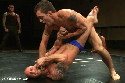 Photo number 1 from Drake Jaden & Blake Daniels vs DJ & Gianni Luca <br> Live Audience Tag Team Match shot for Naked Kombat on Kink.com. Featuring Drake Jaden, DJ, Gianni Luca and Blake Daniels in hardcore BDSM & Fetish porn.