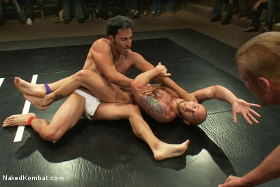 Photo number 4 from Drake Jaden & Blake Daniels vs DJ & Gianni Luca <br> Live Audience Tag Team Match shot for Naked Kombat on Kink.com. Featuring Drake Jaden, DJ, Gianni Luca and Blake Daniels in hardcore BDSM & Fetish porn.
