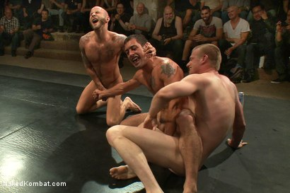 Photo number 5 from Drake Jaden & Blake Daniels vs DJ & Gianni Luca <br> Live Audience Tag Team Match shot for Naked Kombat on Kink.com. Featuring Drake Jaden, DJ, Gianni Luca and Blake Daniels in hardcore BDSM & Fetish porn.