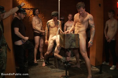 Photo number 8 from Muscular sub is treated like garbage at a dungeon party shot for Bound in Public on Kink.com. Featuring Parker London and Jason Miller in hardcore BDSM & Fetish porn.