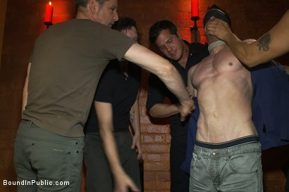 Photo number 2 from Muscular sub is treated like garbage at a dungeon party shot for Bound in Public on Kink.com. Featuring Parker London and Jason Miller in hardcore BDSM & Fetish porn.