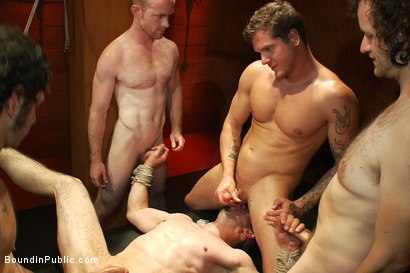 Photo number 12 from Muscular sub is treated like garbage at a dungeon party shot for Bound in Public on Kink.com. Featuring Parker London and Jason Miller in hardcore BDSM & Fetish porn.